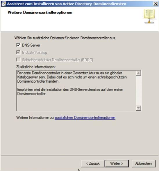 Installationsassistent für den Windows Server 2008 R2
