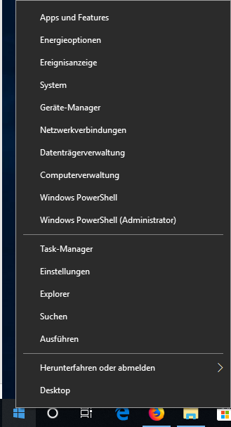 Zum öffnen von Windows PowerShell