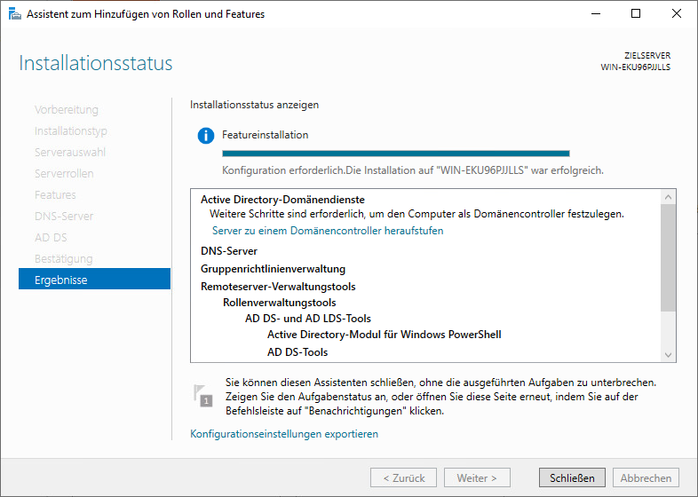 Installation des Domain Controler auf einem Windows Server 2019