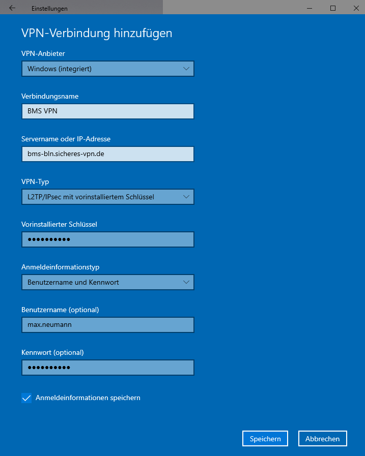 Schritt 4 zum Einrichte des Windows 10 IPsec L2TP VPN Client